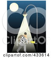 Royalty Free RF Clipart Illustration Of A Robber Walking Under A Street Light