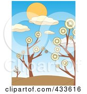 Royalty Free RF Clipart Illustration Of A Landscape Background Of Hills Framed By Trees With Circle Foliage by mheld