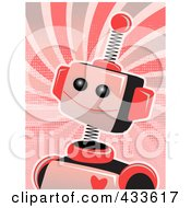 Royalty Free RF Clipart Illustration Of A Pink Springy Robot With A Heart On Its Chest Over Grungy Swirls by mheld