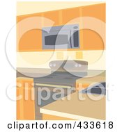 Royalty Free RF Clipart Illustration Of A Kitchen Interior With A Range And Microwave