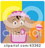 Clipart Illustration Of A Hispanic Baby Girl With A Pacifier Bib And Rattle
