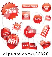 Royalty Free RF Clipart Illustration Of A Digital Collage Of Red Sale Icons Balloons And Buttons
