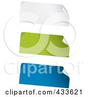 Royalty Free RF Clipart Illustration Of A Digital Collage Of White Green And Blue Blank Peeling Sticker Labels by TA Images #COLLC433621-0125