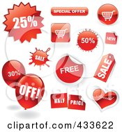 Royalty Free RF Clipart Illustration Of A Digital Collage Of Sale Icons Balloons And Buttons With Shadows