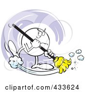 Royalty Free RF Clipart Illustration Of A Mad Moodie Character Sweeping