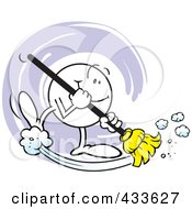 Royalty Free RF Clipart Illustration Of A Happy Moodie Character Sweeping