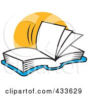 Royalty Free RF Clipart Illustration Of A Blue Open Book With Blank Pages With A Yellow Circle by Johnny Sajem