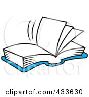 Royalty Free RF Clipart Illustration Of A Blue Open Book With Blank Pages by Johnny Sajem