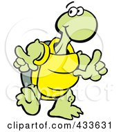 Royalty Free RF Clipart Illustration Of A Tortoise Doing A Happy Dance