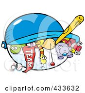 Royalty Free RF Clipart Illustration Of A Team Flag And Toys In A Chest by Johnny Sajem