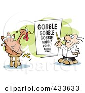 Optometrist Giving A Turkey A Gobble Eye Exam