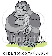 Royalty Free RF Clipart Illustration Of A Gorilla Sitting And Thinking by Johnny Sajem