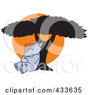 Royalty Free RF Clipart Illustration Of A Pouting Rhino Leaning Against A Tree Against An Orange Sun