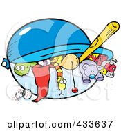 Royalty Free RF Clipart Illustration Of A Toy Chest Full Of Toys by Johnny Sajem