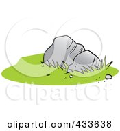 Royalty Free RF Clipart Illustration Of Two Boulders And Green Grass by Johnny Sajem