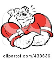 Royalty Free RF Clipart Illustration Of A Proud Bulldog In A Red Shirt With His Arms Folded by Johnny Sajem