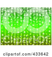 Green Sparkly Background Of Sparkling Lights And Garlands