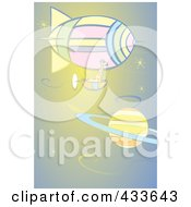 Royalty Free RF Clipart Illustration Of A Giraffe Riding In The Basket Of An Air Balloon Near Saturn by xunantunich