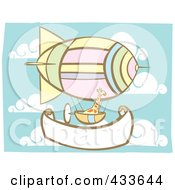 Royalty Free RF Clipart Illustration Of A Giraffe Riding In An Air Balloon Basket Over A Blank Banner by xunantunich