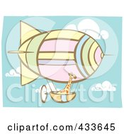 Royalty Free RF Clipart Illustration Of A Giraffe Riding In The Basket Of An Air Balloon