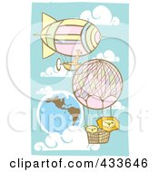 Royalty Free RF Clipart Illustration Of Two Lions And A Giraffe Riding In The Baskets Of Air Balloons