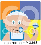 Clipart Illustration Of A Caucasian Baby Boy With A Pacifier Bib And Rattle