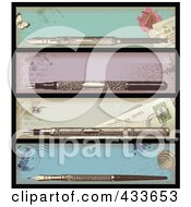 Digital Collage Of Antique Ink Pen Banners