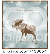 Royalty Free RF Clipart Illustration Of A Moose Over Snowflakes And Sparkles With Merry Christmas And A Happy New Year Text And A Brown Border
