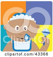 Clipart Illustration Of A Hispanic Baby Boy With A Pacifier Bib And Rattle