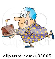 Royalty Free RF Clipart Illustration Of A Happy Grandma Carrying A Birthday Cake by toonaday