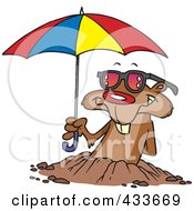 Royalty Free RF Clipart Illustration Of A Groundhog Emerging With Shades And An Umbrella by toonaday