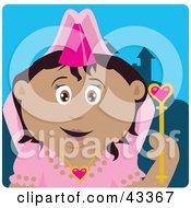 Clipart Illustration Of A Pretty Hispanic Princess Girl Holding A Wand