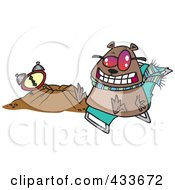 Royalty Free RF Clipart Illustration Of A Groundhog Wearing Shades And Sitting By His Hole by toonaday