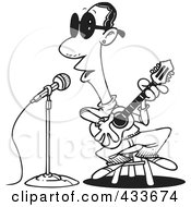 Royalty Free RF Clipart Illustration Of Coloring Page Line Art Of A Man Singing The Blues by toonaday