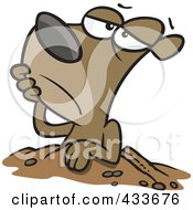 Royalty Free RF Clipart Illustration Of A Groundhog Resting At His Hole by toonaday