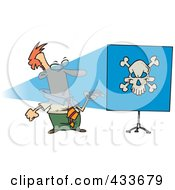 Man Turning A Projector On And Seeing A Skull On A Blue Screen
