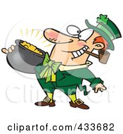 Royalty Free RF Clipart Illustration Of A Leprechaun With A Pipe And Pot Of Gold by toonaday