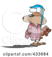 Royalty Free RF Clipart Illustration Of A Groundhog In Pajamas Looking At His Shadow by toonaday