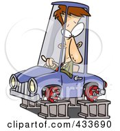Royalty Free RF Clipart Illustration Of A Man In A Tireless Car On Blocks by toonaday