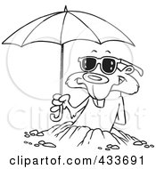 Royalty Free RF Clipart Illustration Of Coloring Page Line Art Of A Groundhog Emerging With Shades And An Umbrella by toonaday