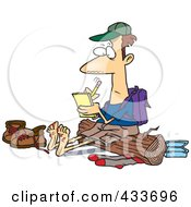 Royalty Free RF Clipart Illustration Of A Barefoot Hiker With Blisters On His Feet Writing In His Journal by toonaday