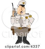 Male Cop In Uniform Talking On A Portable Cb Radio