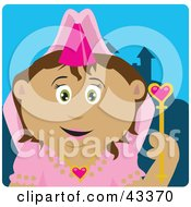 Clipart Illustration Of A Pretty Latin American Princess Girl Holding A Wand