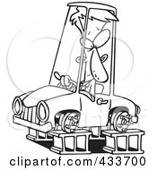 Royalty Free RF Clipart Illustration Of Coloring Page Line Art Of A Man In A Tireless Car On Blocks by toonaday