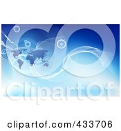 Royalty Free RF Clipart Illustration Of An Abstract Corporate Global Business Background With A Map by AtStockIllustration