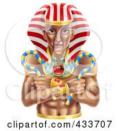 Royalty Free RF Clipart Illustration Of An Ancient Egyptian Pharaoh by AtStockIllustration