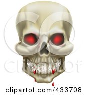 Royalty Free RF Clipart Illustration Of A 3d Red Eyed Skull With Blood On The Teeth by AtStockIllustration