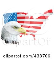 Royalty Free RF Clipart Illustration Of A American Eagle In Front Of A Flag Map