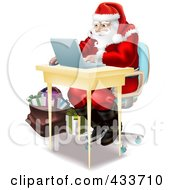 Royalty Free RF Clipart Illustration Of Santa Using A Laptop To Do His Christmas Shopping Online