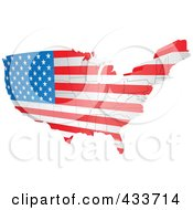 Royalty Free RF Clipart Illustration Of An American Map Flag